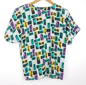 Vintage | Blouse Short Sleeve Pattern Button Back